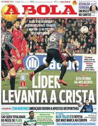 capa Jornal A Bola de 25 fevereiro 2020