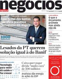 capa Jornal de Negócios de 3 fevereiro 2020