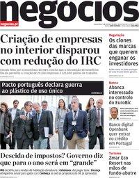 capa Jornal de Negócios de 5 fevereiro 2020