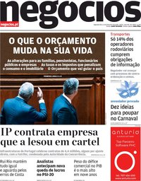 capa Jornal de Negócios de 10 fevereiro 2020