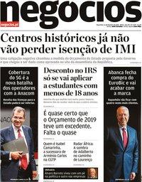 capa Jornal de Negócios de 11 fevereiro 2020