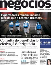 capa Jornal de Negócios de 13 fevereiro 2020