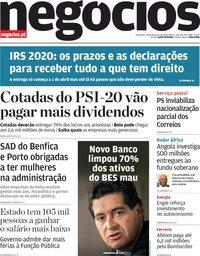 capa Jornal de Negócios de 18 fevereiro 2020