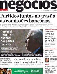 capa Jornal de Negócios de 27 fevereiro 2020