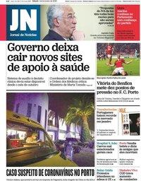 capa Jornal de Notícias de 1 fevereiro 2020