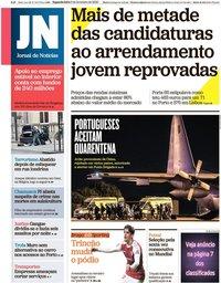 capa Jornal de Notícias de 3 fevereiro 2020