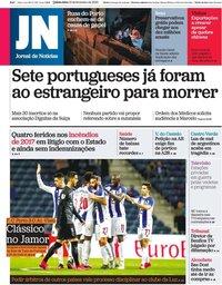 capa Jornal de Notícias de 13 fevereiro 2020