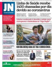 capa Jornal de Notícias de 29 fevereiro 2020