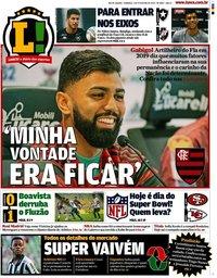 capa Jornal Lance! Rio de Janeiro de 2 fevereiro 2020