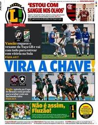capa Jornal Lance! Rio de Janeiro de 5 fevereiro 2020