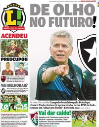 capa Jornal Lance! Rio de Janeiro de 14 fevereiro 2020