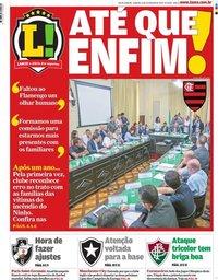 capa Jornal Lance! Rio de Janeiro de 15 fevereiro 2020