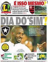 capa Jornal Lance! Rio de Janeiro de 21 fevereiro 2020