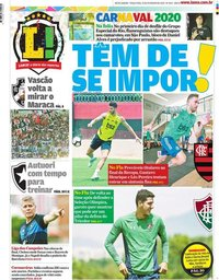 capa Jornal Lance! Rio de Janeiro de 25 fevereiro 2020