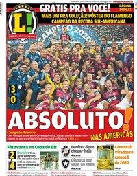 capa Jornal Lance! Rio de Janeiro de 27 fevereiro 2020
