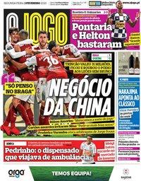 capa Jornal O Jogo de 3 fevereiro 2020