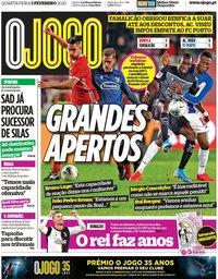 capa Jornal O Jogo de 5 fevereiro 2020