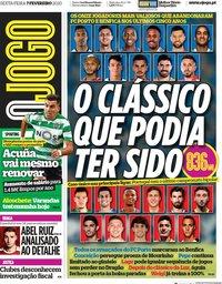 capa Jornal O Jogo de 7 fevereiro 2020