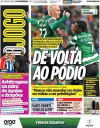 capa Jornal O Jogo de 10 fevereiro 2020