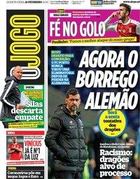 capa Jornal O Jogo de 26 fevereiro 2020