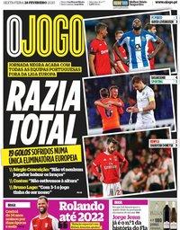 capa Jornal O Jogo de 28 fevereiro 2020