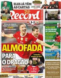 capa Jornal Record de 1 fevereiro 2020