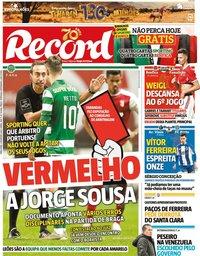 capa Jornal Record de 4 fevereiro 2020