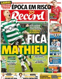 capa Jornal Record de 13 fevereiro 2020