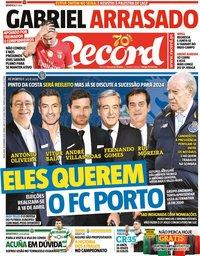 capa Jornal Record de 14 fevereiro 2020