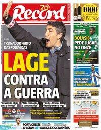 capa Jornal Record de 15 fevereiro 2020