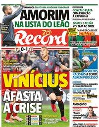 capa Jornal Record de 25 fevereiro 2020