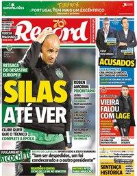 capa Jornal Record de 29 fevereiro 2020