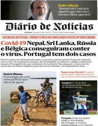 capa Diário de Notícias de 3 março 2020