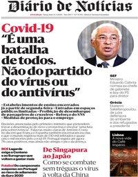 capa Diário de Notícias de 13 março 2020
