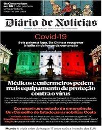 capa Diário de Notícias de 18 março 2020