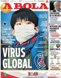 capa Jornal A Bola de 1 março 2020