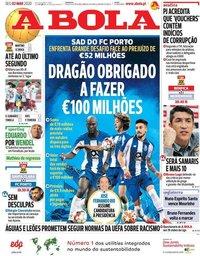 capa Jornal A Bola de 2 março 2020