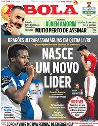 capa Jornal A Bola de 3 março 2020