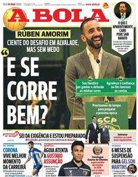 capa Jornal A Bola de 6 março 2020
