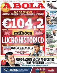 capa Jornal A Bola de 7 março 2020