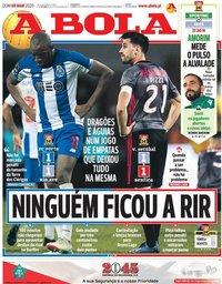 capa Jornal A Bola de 8 março 2020