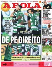 capa Jornal A Bola de 9 março 2020