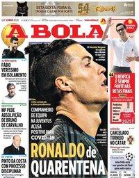 capa Jornal A Bola de 12 março 2020