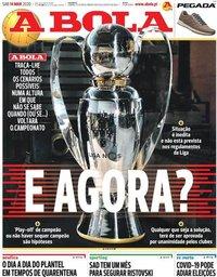 capa Jornal A Bola de 14 março 2020