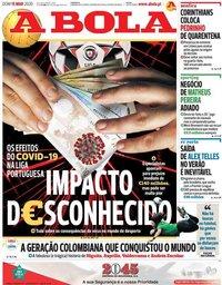 capa Jornal A Bola de 15 março 2020