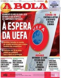 capa Jornal A Bola de 16 março 2020
