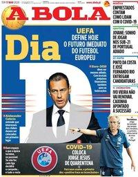 capa Jornal A Bola de 17 março 2020