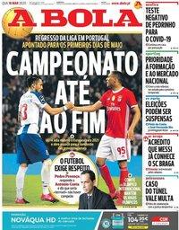 capa Jornal A Bola de 18 março 2020