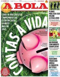 capa Jornal A Bola de 20 março 2020