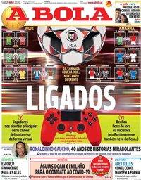 capa Jornal A Bola de 21 março 2020